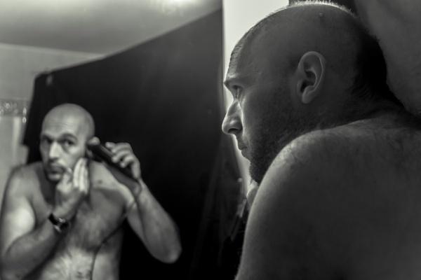 Man shaving 3 by derrymaine