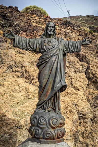 Statue of Jesus Christ Sacred Heart, Mt Teide, Tenerife by ednys