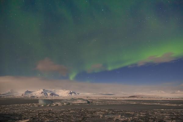 Aurora over  Jokulsarlon Iceland by SueLeonard