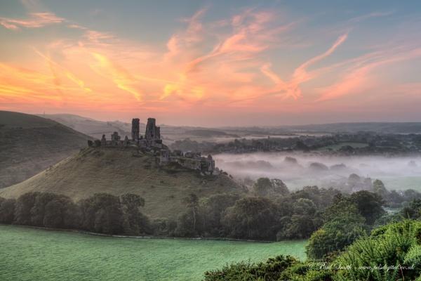 Dawn at Corfe Castle by pdsdigital