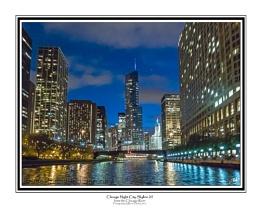 Chicago Night City Skyline