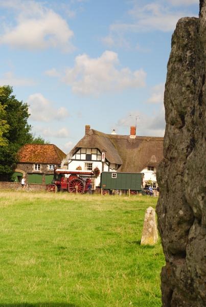 Avebury stone , Pub and Steam engine. by cdnikon