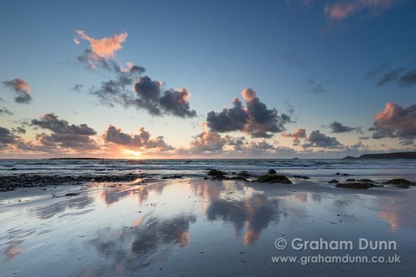 Evening reflections Sennen Beach - Cornwall by grahamdunn
