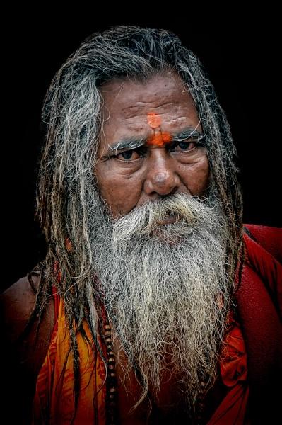 hindu sadhu at Dashashwamedh ghat in Varanasi by sawsengee