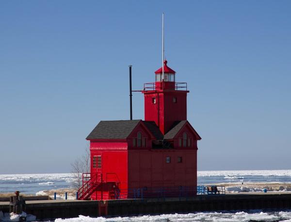 Lighthouse at Lake Macatawa Michigan by chefdumaison