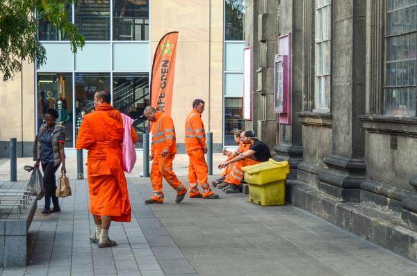 Hi- Vis Tibetan monk in Leeds, uk by justwilliam
