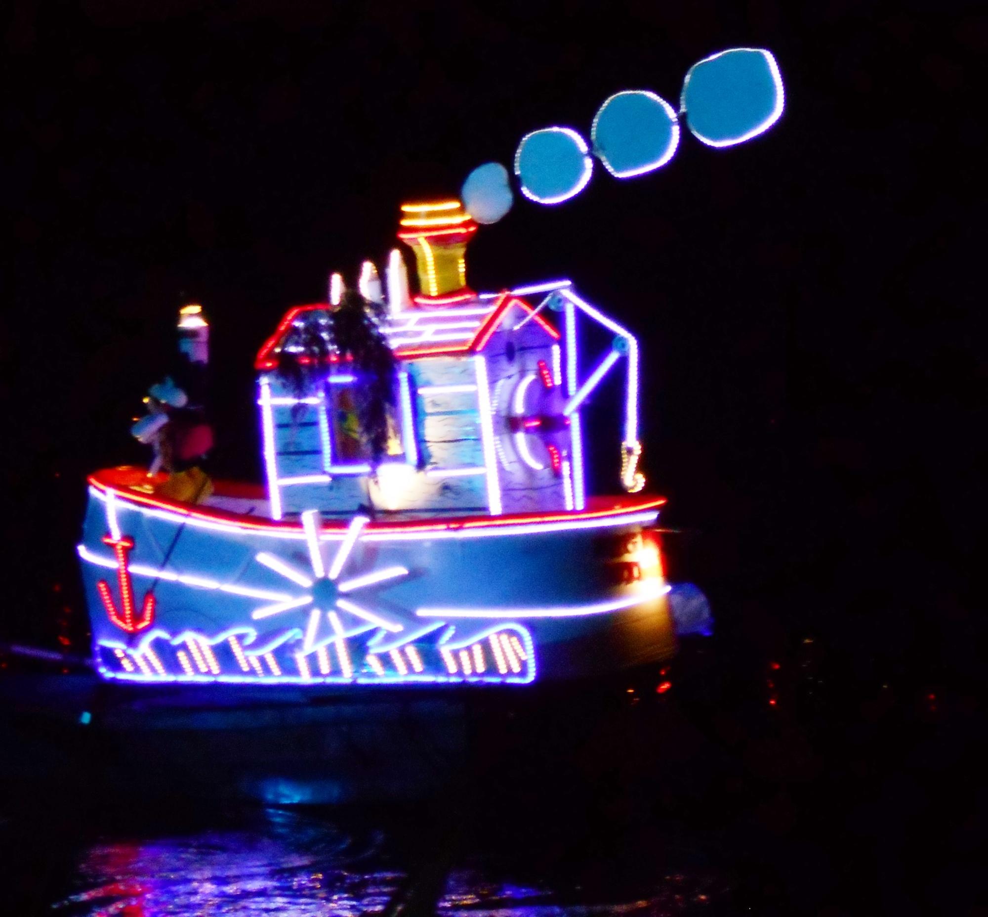 "Illuminated boat ""Steamboat Willie"" on the river tonight at Matlock Illuminations, Derbys"