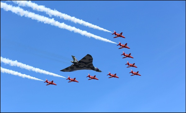 Vulcan Bomber Escorted by The Red Arrows, by johnmw