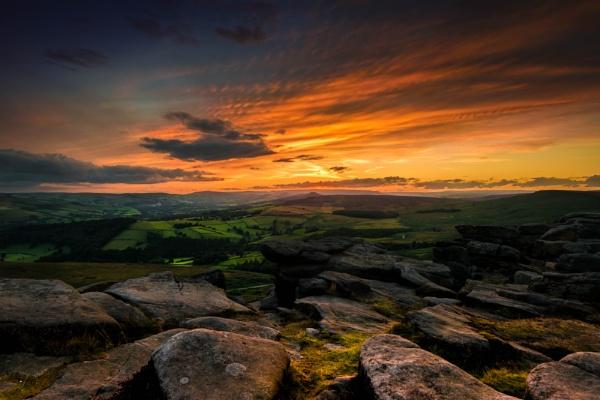 Stanage Edge Sunset by Davidbassphotography