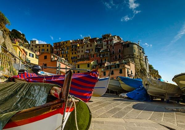 Boats of the Ligurian coast. Manarola by jerryiron