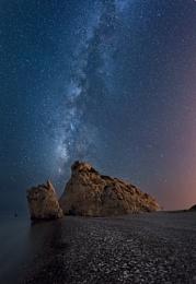 Aphrodite's rock under the Milky way