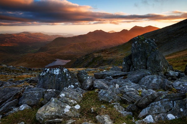 Snowdon at sunset from Glyder Fawr a mountain in Snowdonia, Wales... by J_Tom