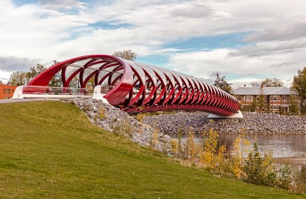 Peace Bridge over the Bow River, Calgary by pdunstan_Greymoon