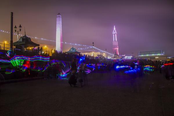 Light Trails on Blackpool Prom by WorldInFocus