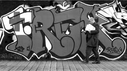 People and graffiti.