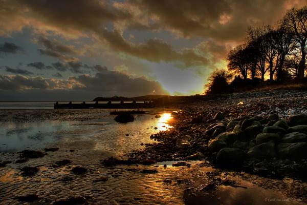 Sunset on Aldingham Beach by CarolAnnLauderdale