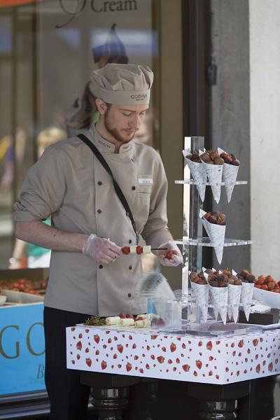 Chocolates, strawberries and bananas. by EddieDaisy