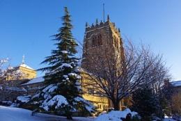 A snowy Bradford Cathedral