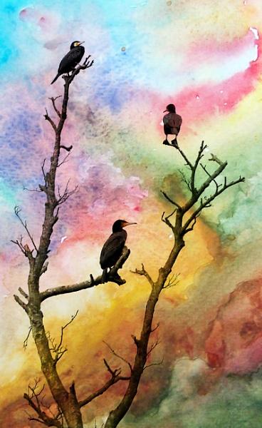 Birds in a tree by shaz4
