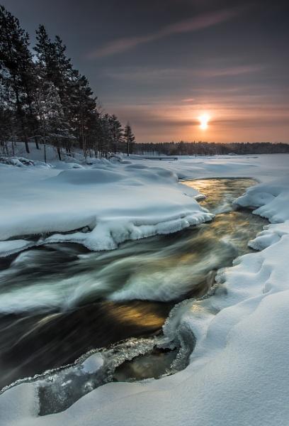 Sunset Lake Inari Lapland by Legend147