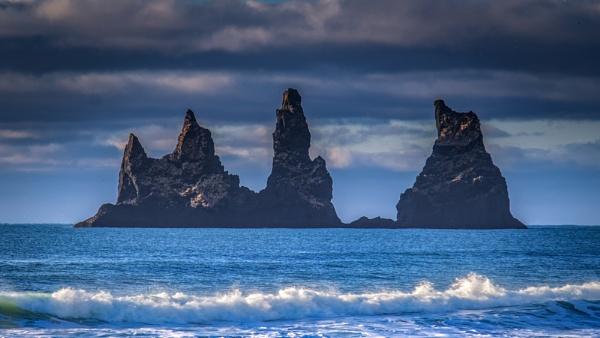 Reynisdrangar sea stacks off Vik beach. by braddy