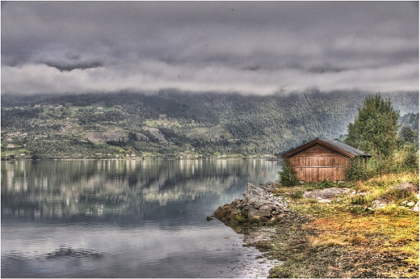 hut on the fjord by stretch123