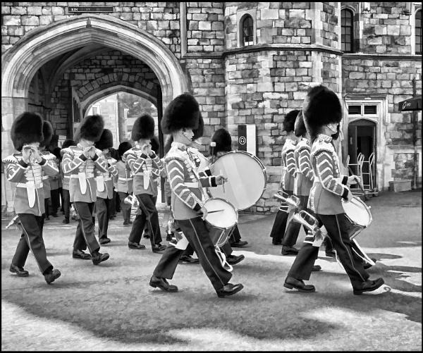 Guard,s band entering Windsor Castle. by stocksbridge