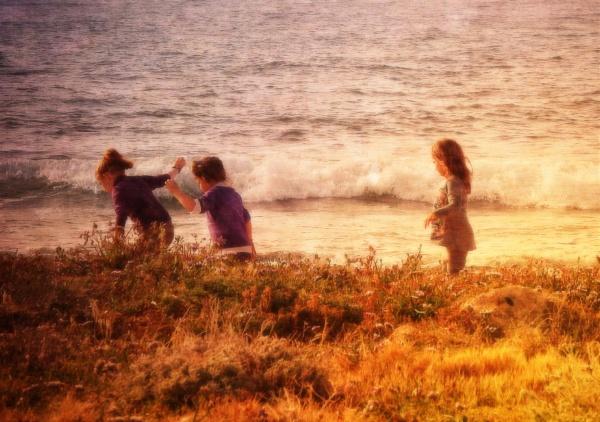 Three little girls by exposure