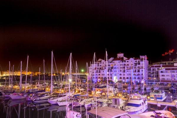 Gibraltar Ocean Village at night by pf