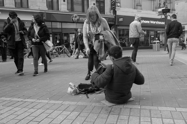 Disabled busker, Briggate, Leeds, uk by justwilliam