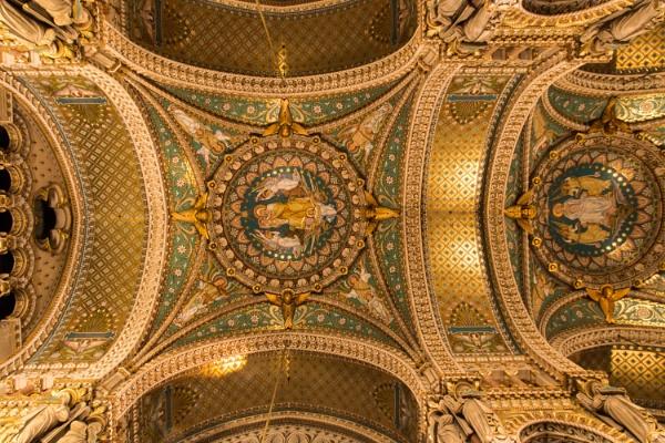 Ceiling of La basilique de Notre-Dame de Fourvière, Lyon by chataignier