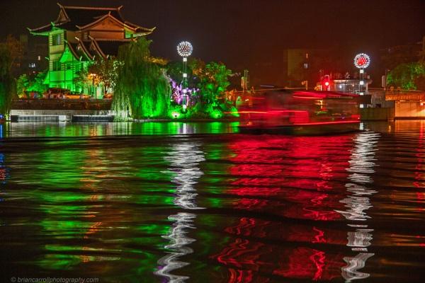 River Li, Guilin, Southern China at night by brian17302