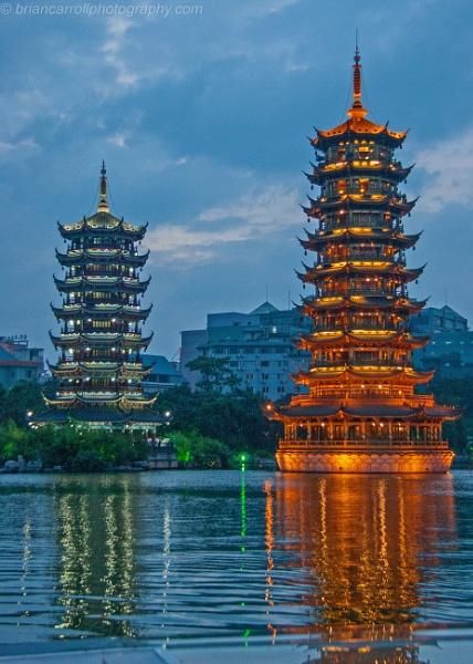 Sun & the Moon Pagodas, Guilin, China by brian17302