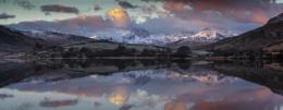 Winter Snowdon Horseshoe reflected in Llynnau Mymbyr