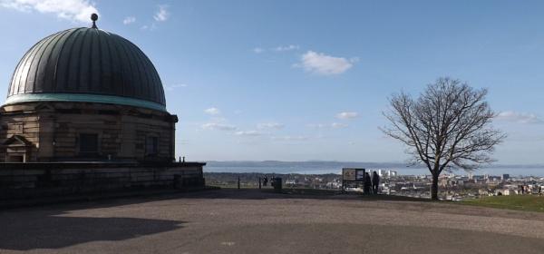 Calton Hill Dome W/ Tree & Two Tourists Studing Info Bill-Board + Sea-View by xosn