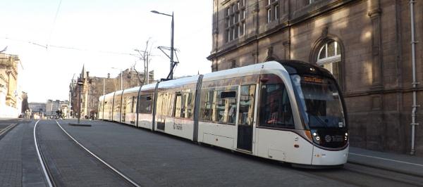 Edinburgh Tram Travelling Down St Andrews Square by xosn