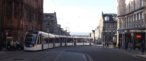 Edinburgh Tram travelling down St Andrews Square & around the corner! by xosn