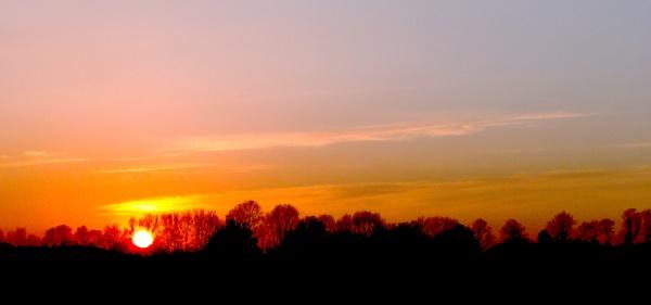 Fiery Sunset. by barn yard