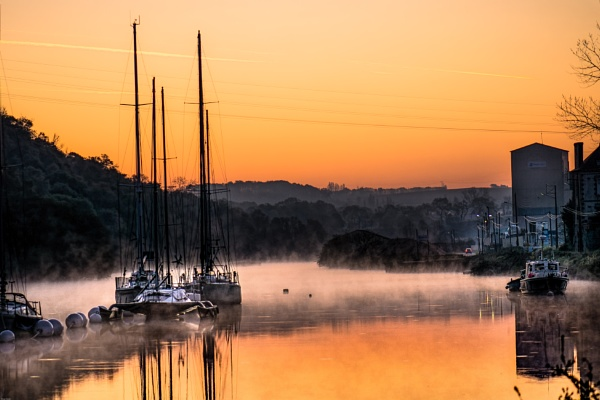 Early morining mist on the estuary in Pontrieux North Brittany by brianfrance1