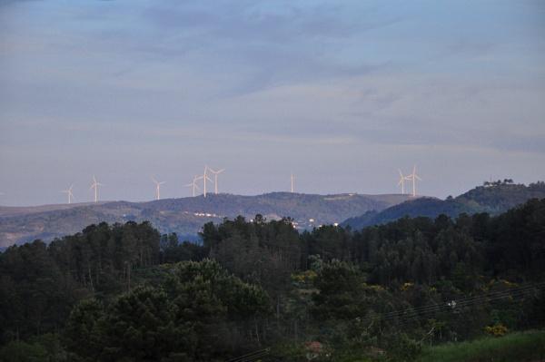 Windfarm at sundown. by HarrietH