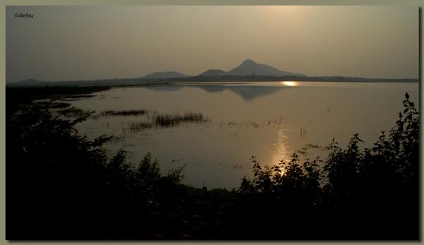 Sun set at Baranti Lake, Purulia,West Bengal by debu