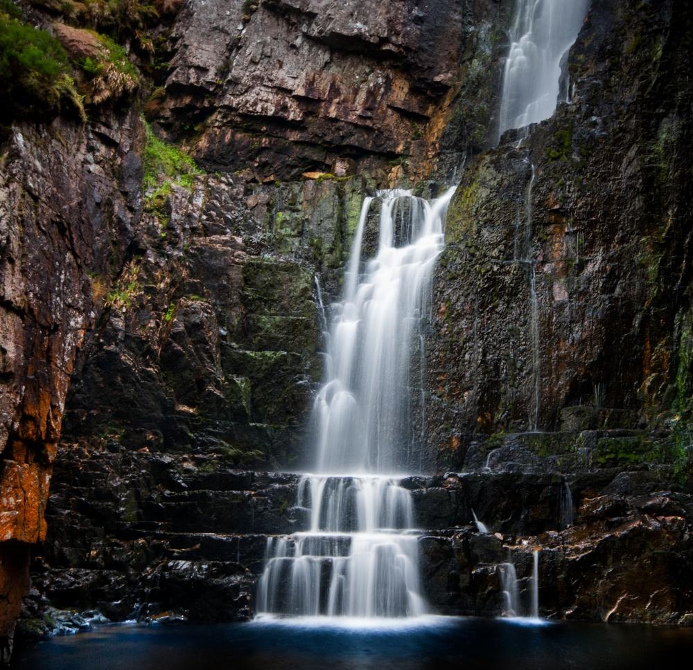Waterfall Near Unapool Scotland By Richardgrumpymac
