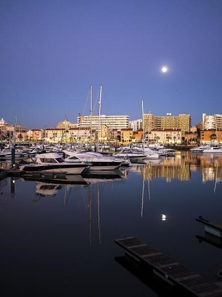 Moonrise over The Marina at Vilamoura, Portugal by Richardjwills