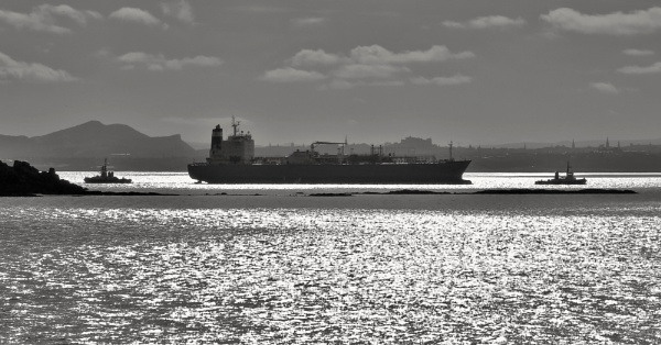Contre Jour Ship And Edinburgh by photowanderer