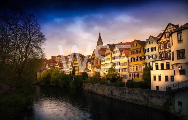 Tuebingen am Neckar Cityscape in bad weather by wsfeph