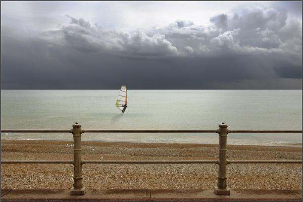 Seascape with Railings & Windsurfer by Otinkyad