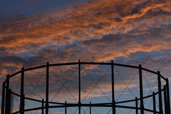 Sunset Behind the Gasholder by TheHucklebrookHound