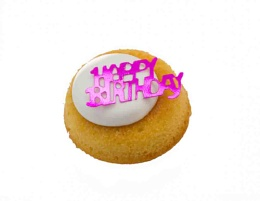 Small birthday cake with Happy Birthday lettering
