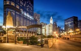 Chicago Riverwalk and Trump Tower