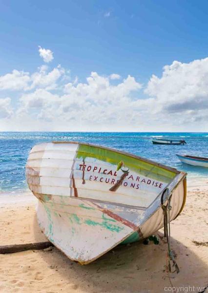 Ein Schiffswrack am Strand in der Karibik by wsfeph